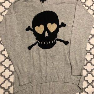 EXPRESS Womens Skull & Bones Grey Heart Sweater